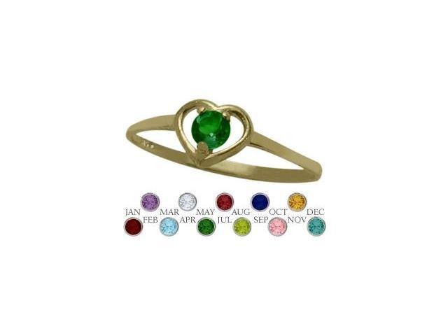 14 Karat Yellow Gold Created Emerald Solitaire Gem Round Shape Baby Ring - SIZE 2
