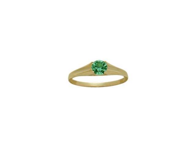 14 Karat Yellow Gold Genuine 0.25tcw. Emerald May Baby Gemstone Ring