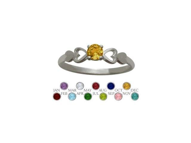 Genuine Sterling Silver Genuine Citrine  Round Shape Baby Ring - SIZE 2