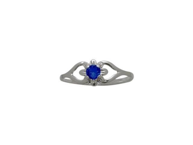 10 Karat White Gold Created Sapphire Flower Solitaire Baby Ring - SIZE 2