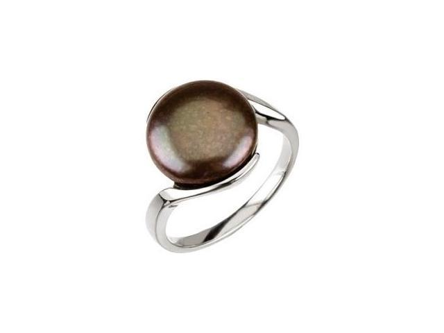 Genuine Sterling Silver Black Coin Pearl Ring - Size 10
