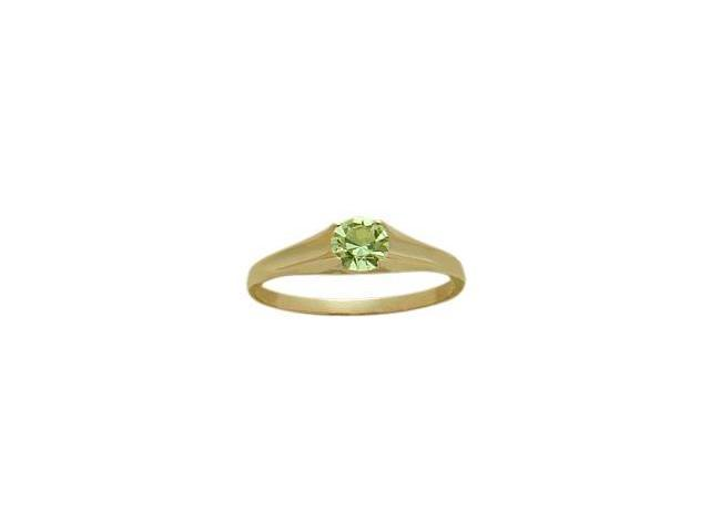 14 Karat Yellow Gold Genuine 0.28tcw. Peridot August Baby Gemstone Ring