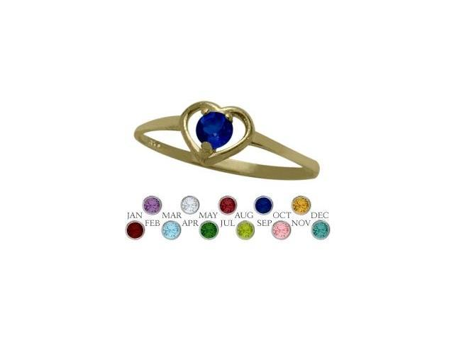 14 Karat Yellow Gold Created Sapphire Solitaire Gem Round Shape Baby Ring - SIZE 4