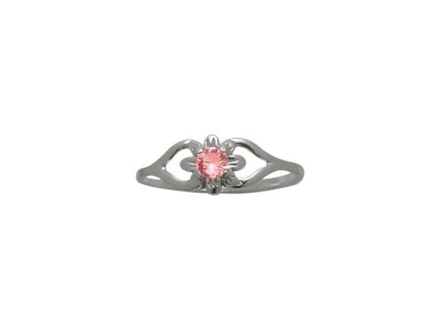 10 Karat White Gold Created Tourmaline Flower Solitaire Baby Ring - SIZE 3