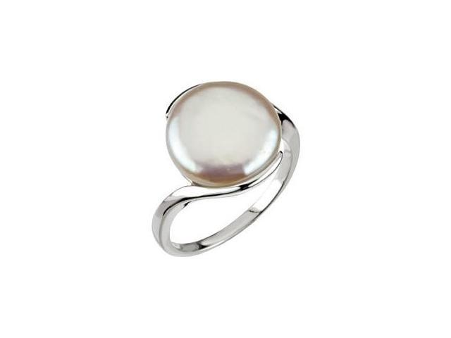 Genuine Sterling Silver White Coin Pearl Ring - Size 6