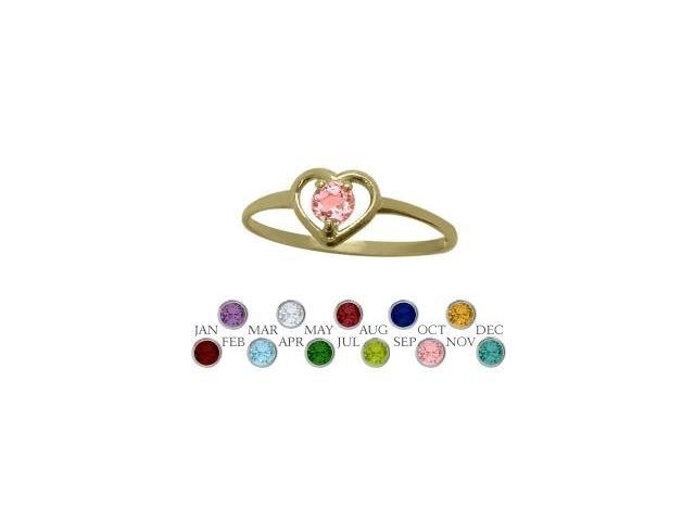 14 Karat Yellow Gold Created Tourmaline Solitaire Gem Round Shape Baby Ring - SIZE 4