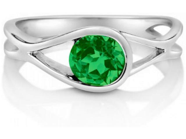 Created Emerald Gemstone Silver Solitaire Woven Ring - SIZE 7