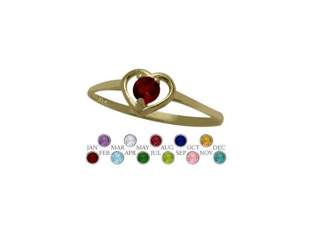 14 Karat Yellow Gold Genuine Garnet Solitaire Gem Round Shape Baby Ring - SIZE 4