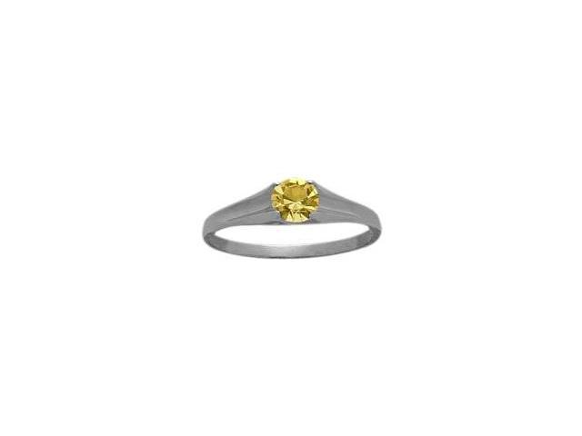 Genuine Sterling Silver Genuine Citrine Solitaire Baby Ring - SIZE 4