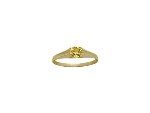 14 Karat Yellow Gold Genuine 0.20tcw. Citrine November Baby Gemstone Ring