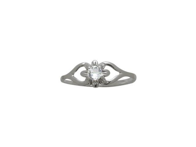 10 Karat White Gold Genuine White Topaz Flower Solitaire Baby Ring - SIZE 4