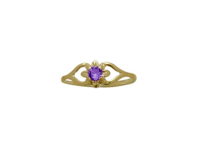 14 Karat Yellow Gold Genuine Amethyst Flower Solitaire Baby Ring - SIZE 2