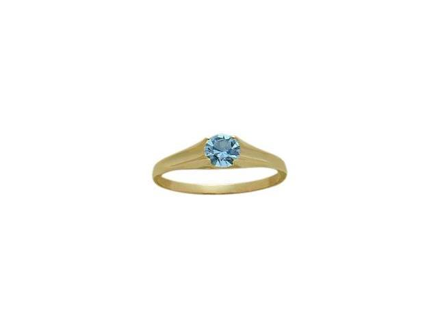 14 Karat Yellow Gold Genuine 0.26tcw. Blue Topaz December Baby Gemstone Ring