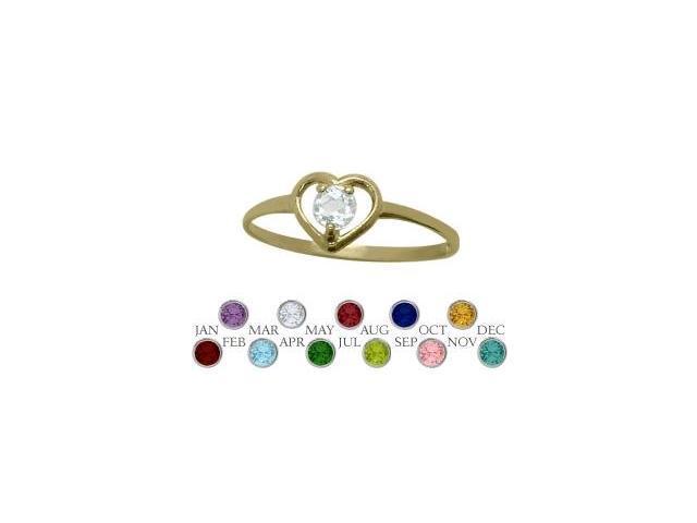 14 Karat Yellow Gold Genuine White Topaz Solitaire Gem Round Shape Baby Ring - SIZE 3