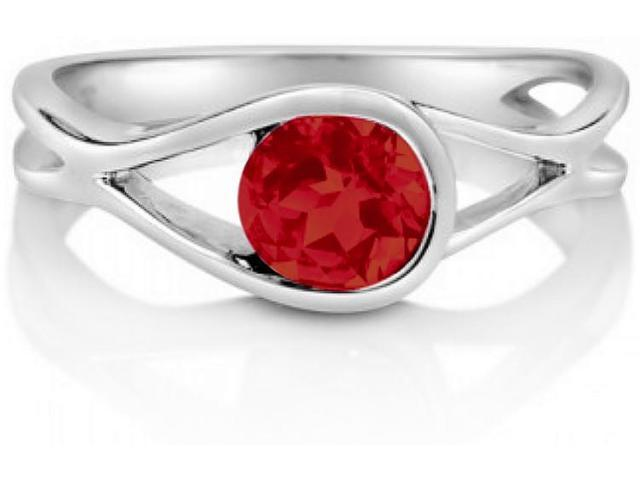 Created Ruby Gemstone Silver Solitaire Woven Ring - SIZE 7.5
