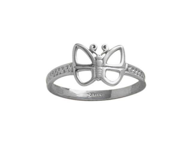 10 Karat White Gold Butterfly Baby Ring - SIZE 3