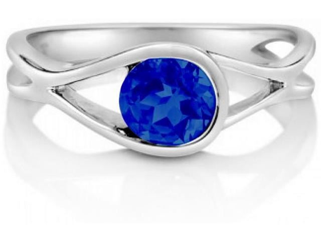 Created Sapphire Gemstone Silver Solitaire Woven Ring - SIZE 7