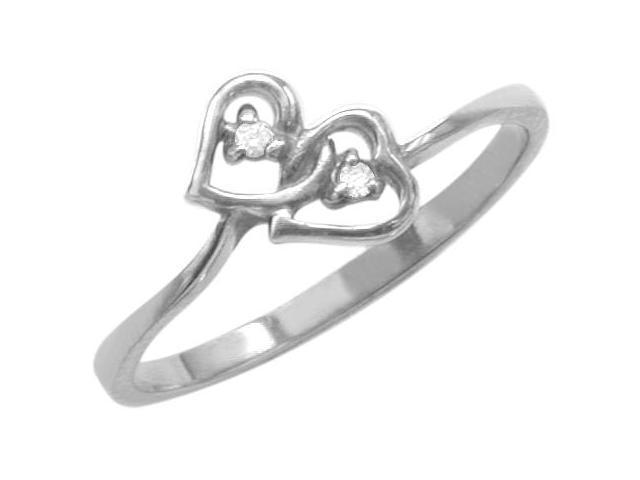 Ladies 10 Karat White Gold Double Heart Diamond Ring - Size 6.5