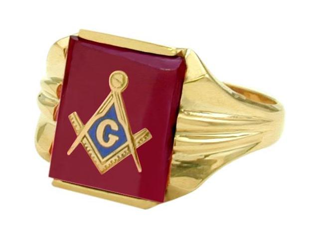 Men's 10 Karat Yellow Gold Rectangular Red Mason Ring