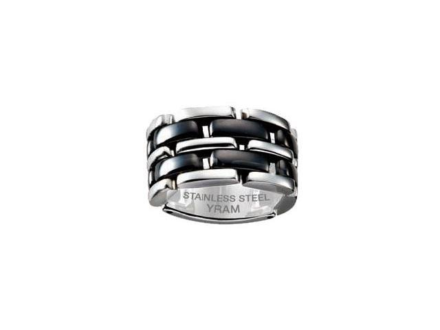Stainless Steel & Black Ceramic 13mm Flex Ring - Size 10.5