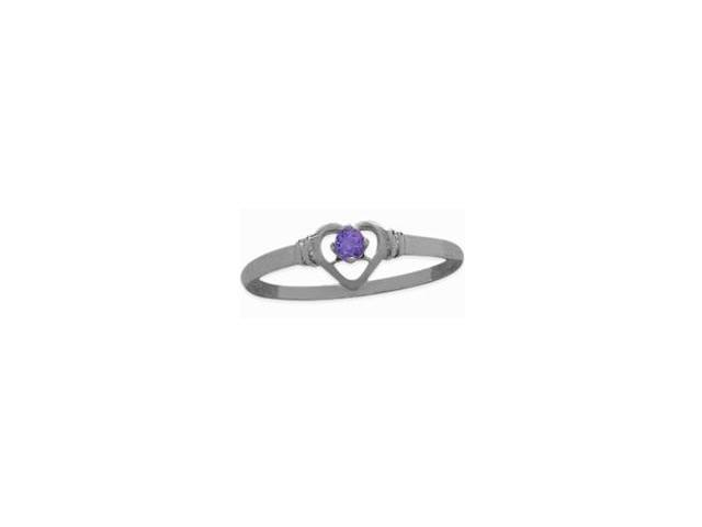 Ladies Sterling Silver Genuine Amethyst Round Ring - Size 7