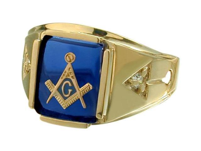 Men's 10 Karat Yellow Gold Rectangular Blue Mason Ring