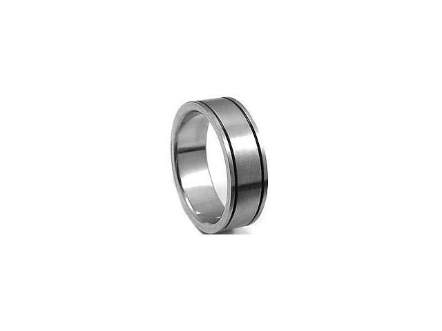 Stainless Steel Double Groove Ring - Size 8