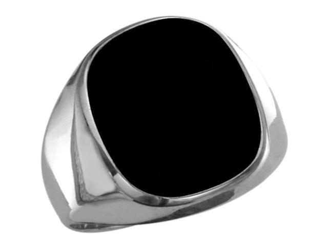 Men's Sterling Silver Genuine Oval Onyx Ring