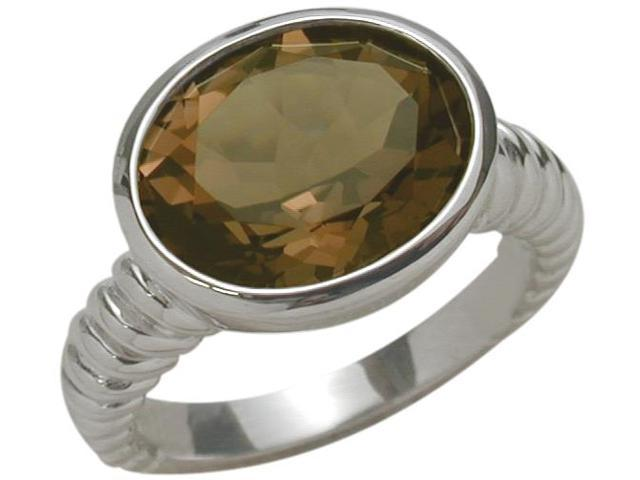 Ladies Sterling Silver Genuine Smokey Quartz 4.35 Carat Ring - 6.5