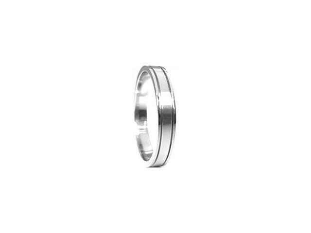 Stainless Steel Thin Double Groove Ring - Size 9