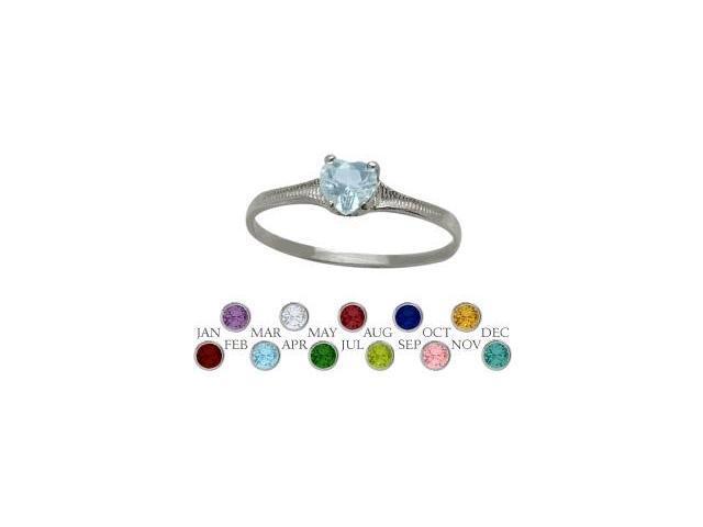 10 Karat White Gold Created Aquamarine Heart Shape Gem Baby Ring - SIZE 4