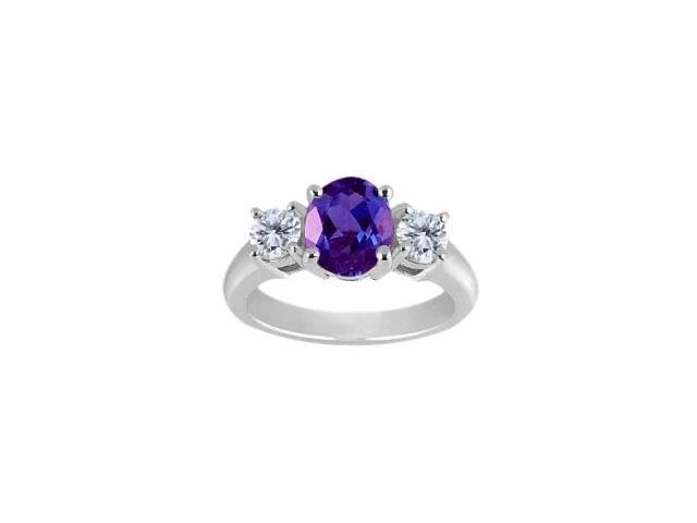 Ladies 10 Karat White Gold Genuine Oval Amethyst Ring - Size 6