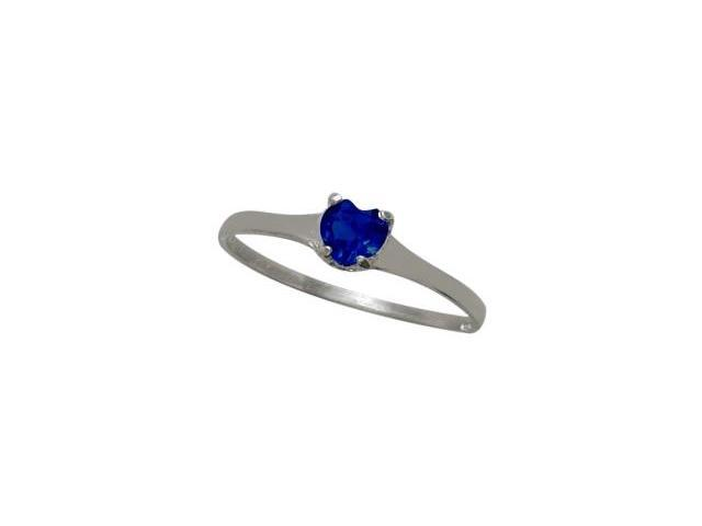 Genuine Sterling Silver Created Sapphire Heart Solitaire Baby Ring - SIZE 3