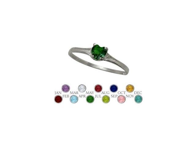 Genuine Sterling Silver Created Emerald Heart Shape Gem Baby Ring - SIZE 4