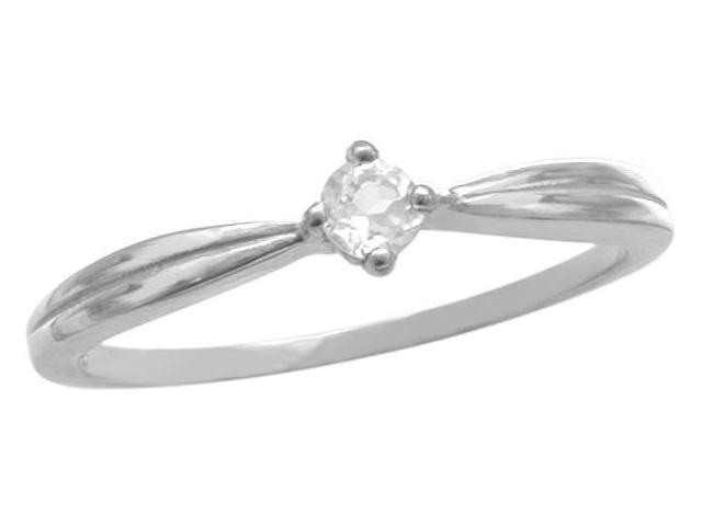 Ladies 10 Karat White Gold Genuine White Topaz Ring - Size 6
