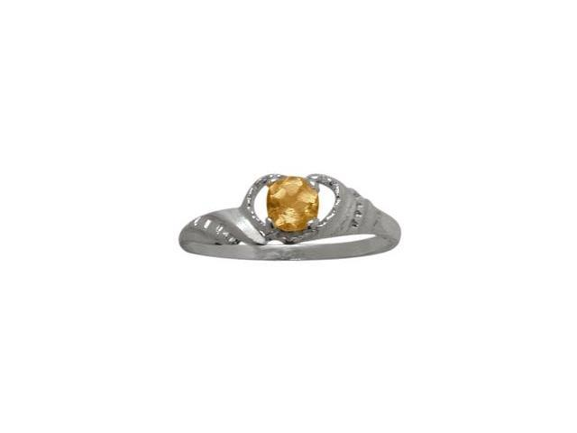 10 Karat White Gold Genuine Citrine Gemstone Baby Ring - SIZE 4