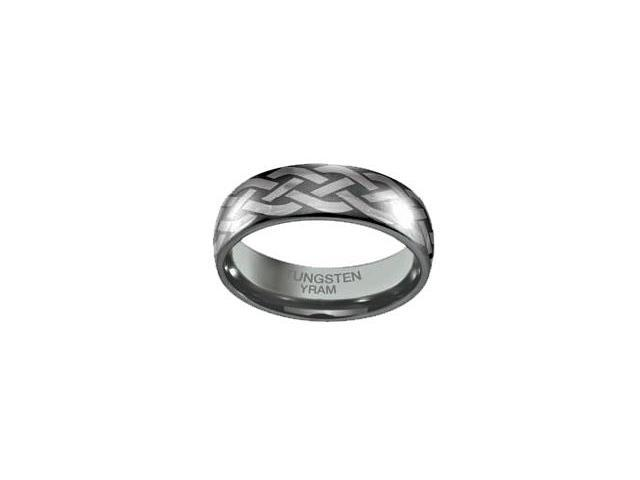 Tungsten Celtic Knot 7mm Half Dome Ring - Size 6.5