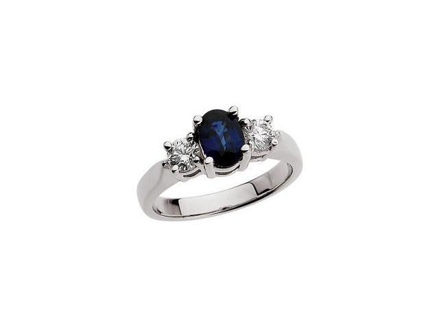 Ladies 10 Karat White Gold Created Oval Sapphire Ring - Size 7.5