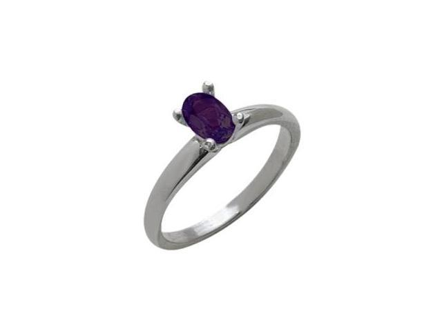 Ladies 10 Karat White Gold Genuine Oval Amethyst Solitaire Ring - Size 7.5