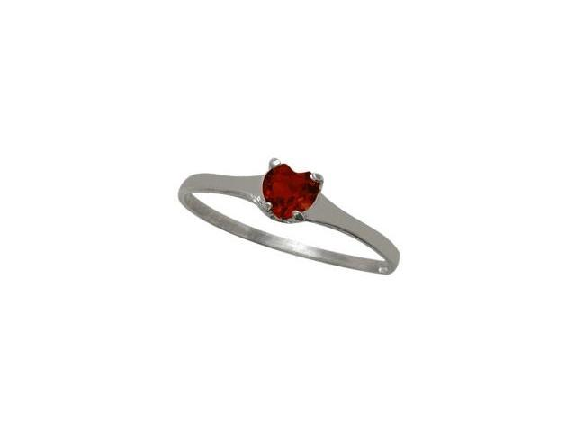 10 Karat White Gold Genuine Garnet Heart Solitaire Baby Ring - SIZE 3