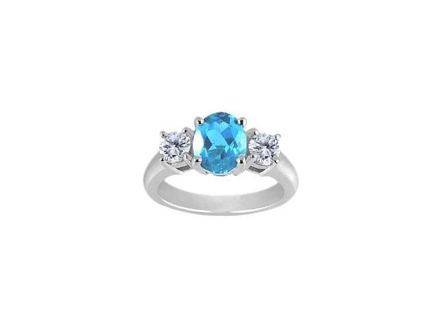 Ladies 10 Karat White Gold Genuine Oval Blue Topaz Ring - Size 5.5