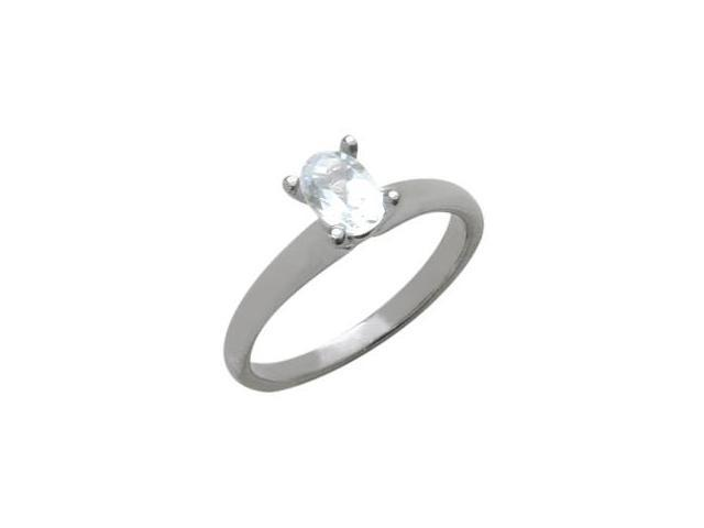 Ladies 10 Karat White Gold Genuine Oval White Topaz Solitaire Ring - Size 7.5