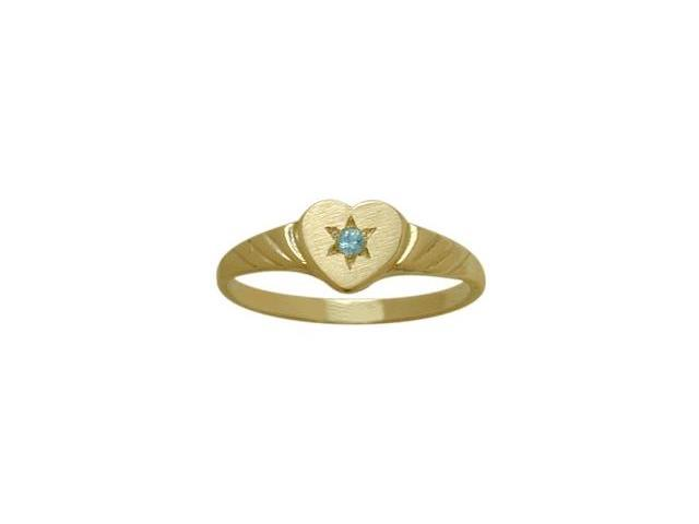14 Karat Yellow Gold Genuine Blue Topaz Heart Solitaire Baby Ring - SIZE 4