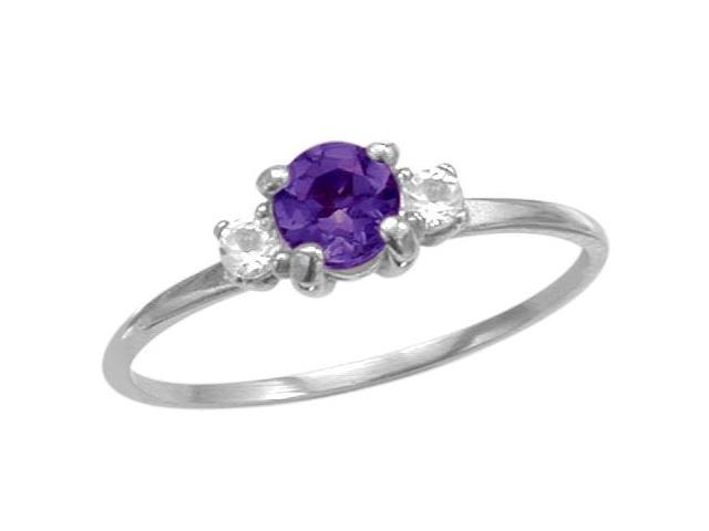 Ladies 10 Karat White Gold Genuine Amethyst Ring - Size 7