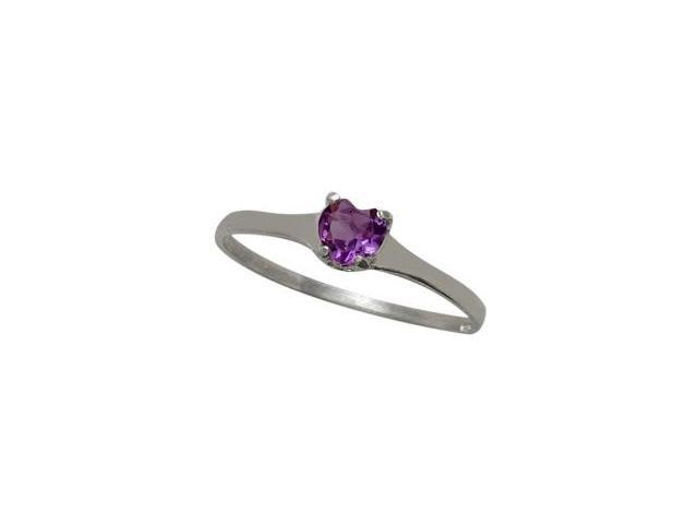 10 Karat White Gold Genuine Amethyst Heart Solitaire Baby Ring - SIZE 2