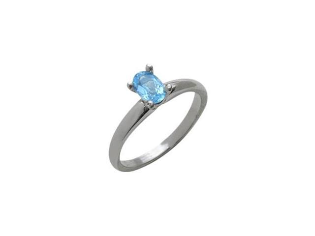 Ladies 10 Karat White Gold Genuine Oval Blue Topaz Solitaire Ring - Size 5