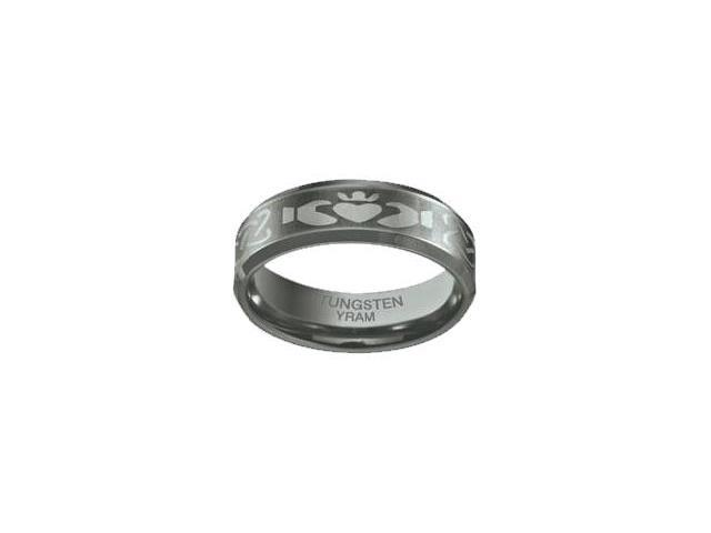 Tungsten 7mm Claddagh Ring - Size 12.5
