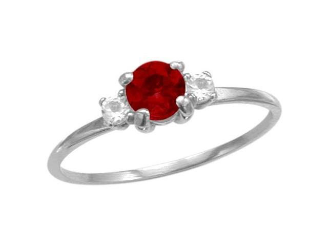 Ladies 10 Karat White Gold Created Ruby Ring - Size 5.5