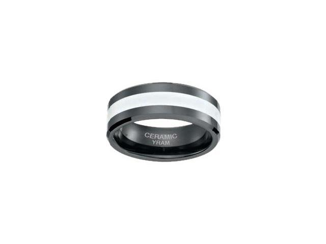 Black Ceramic with White Inlay 8mm Ring - Size 10