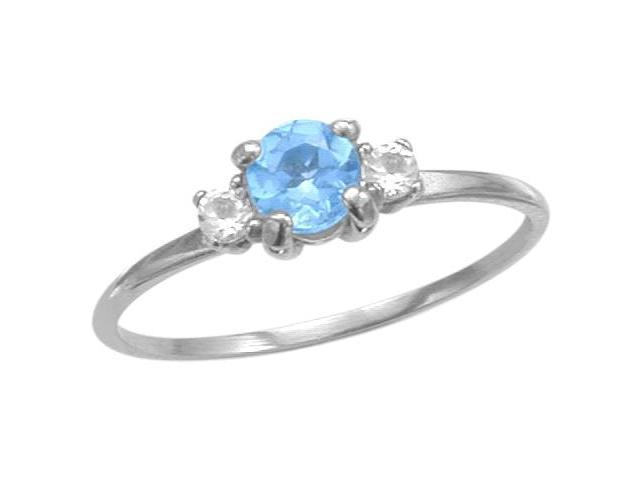 Ladies 10 Karat White Gold Genuine Blue Topaz Ring - Size 6.5